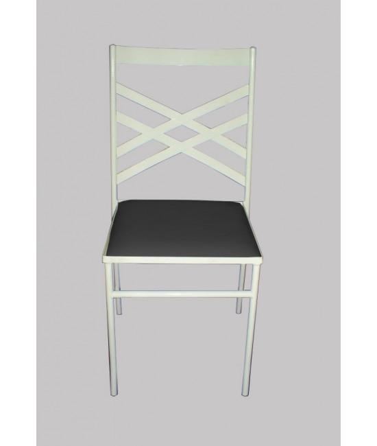 Cadeira de Ferro Branca (c/ assento preto) - 0,40 x 0,43 x 0,90 (CxLxH)